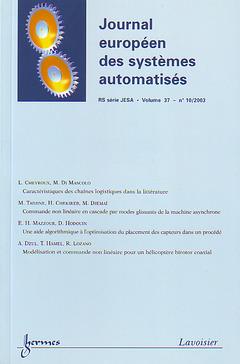 Couverture de l'ouvrage Journal européen des systèmes automatisés RS série JESA Vol. 37 N° 10/2003