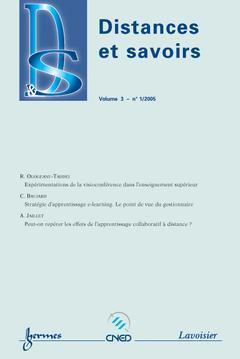 Couverture de l'ouvrage Distances et savoirs Vol. 3 N° 1/2005