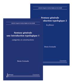 Couverture de l'ouvrage Syntaxe générale, une introduction typologique (en 2 volumes)