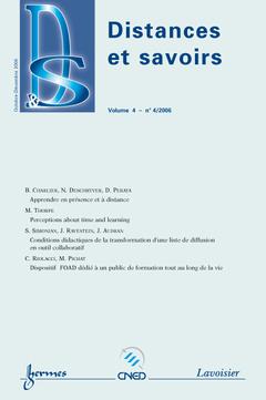 Couverture de l'ouvrage Distances et savoirs Vol. 4 N° 4/2006