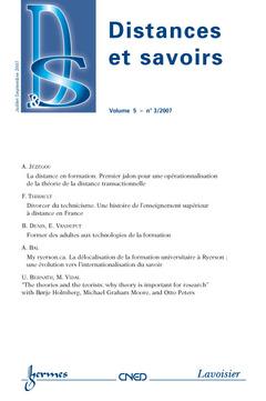 Couverture de l'ouvrage Distances et savoirs Vol. 5 N° 3/2007 Juillet-Septembre 2007