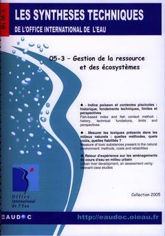 Couverture de l'ouvrage Gestion de la ressource et des écosystèmes (Les synthèses techniques de l'office international de l'eau, EN 05-3)
