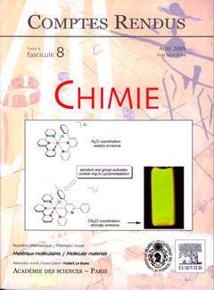 Couverture de l'ouvrage Comptes rendus Académie des sciences, Chimie, tome 8, fasc 8, Août 2005 : matériaux moléculaires / Molecular materials