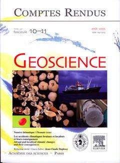 Couverture de l'ouvrage Comptes rendus Académie des sciences, Géoscience, Tome 337, fasc 10-11, Août 2005 : les accidents climatiques brutaux et localisés et leurs conséquences