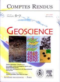 Couverture de l'ouvrage Comptes rendus Académie des sciences, Géoscience, tome 338, fasc 6-7, Juin 2006 : les rouilles vertes et la fougérite dans le cycle biogéochimique ...