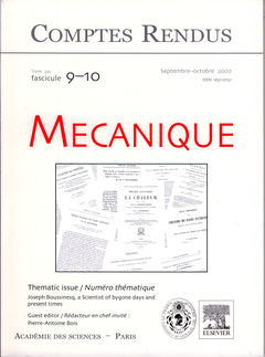 Couverture de l'ouvrage Comptes rendus Académie des sciences, Mécanique, tome 335, fasc 9-10, Septembre-octobre 2007 : Joseph Boussinesq, a Scientist of bygone days...