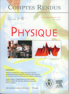 Couverture de l'ouvrage Comptes rendus Académie des sciences, Physique, tome 8, fasc 7-8, SeptembreOctobre 2007 : neutron scattering : a comprehensive tool... (Bilingue)