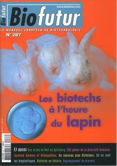 Couverture de l'ouvrage Biofutur N° 287 : les biotechs à l'heure du lapin (Avril 2008)
