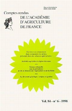 Couverture de l'ouvrage Activités agricoles & régime des eaux... La diversité génétique : origine et gestion (Comptes rendus AAF vol 84 n°6 98)