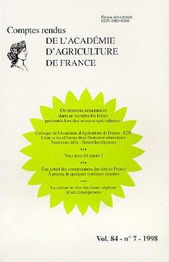 Couverture de l'ouvrage Colloque de l'Académie d'Agriculture de France-EDF. L'eau et les effluents dans l'industrie alimentaire Nouveaux défis.. (Comptes rendus AAF vol 84 n°7 1998)
