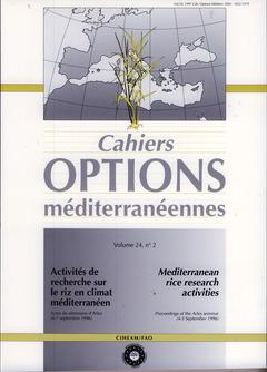 Couverture de l'ouvrage Activités de recherche sur le riz en climat méditerranéen / Mediterranean rice research activities (Arles, 4-7/09/ 1996, cahier option... vol 24, n°2 1997)