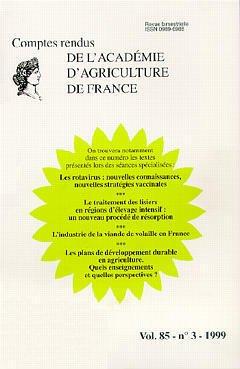 Couverture de l'ouvrage Les rotavirus: nouvelles connaissances, nouvelles stratégies vaccinales: traitement des lisiers en région d'élevage (Comptes Rendus vol.85 N°3 1999)