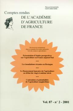 Couverture de l'ouvrage Présentation d'études prospectives sur l'agriculture en France aujourd'hui. Les innondations... (Comptes rendus de l'AAF VOL.87-n°2-2001)
