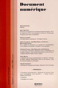 Couverture de l'ouvrage Document numérique Vol.2 N°1 mars 1998