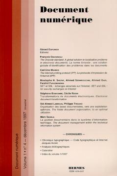 Couverture de l'ouvrage Document numérique Vol.1 N°4 décembre 1997