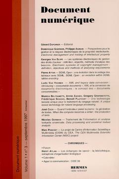 Couverture de l'ouvrage Document numérique Vol.1 N°3 septembre 1997
