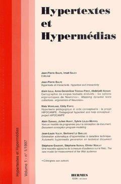 Couverture de l'ouvrage Hypertextes et hypermédias Vol.1 N° 1/ 1997