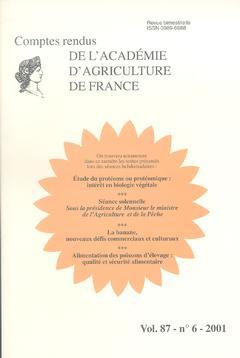 Couverture de l'ouvrage Etude du protéome ou protéomique: Intérêt en biologie végétale... (Comptes rendus de l'AAF Vol.87 N°6 2001)