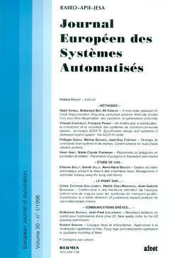 Couverture de l'ouvrage Journal Européen des Systèmes Automatisés Vol.30 N° 1/1996