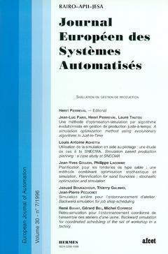 Couverture de l'ouvrage Journal Européen des Systèmes Automatisés Vol.30 N° 7/1996