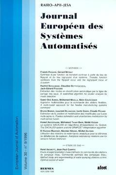 Couverture de l'ouvrage Journal Européen des Systèmes Automatisés Vol.30 N° 9/1996