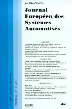 Couverture de l'ouvrage Journal Européen des Systèmes Automatisés Vol.30 N° 10/1996