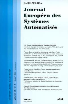Couverture de l'ouvrage Journal Européen des Systèmes Automatisés Vol.31 N° 4/Juin 1997