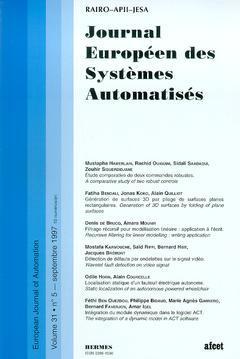 Couverture de l'ouvrage Journal Européen des Systèmes Automatisés Vol.31 N° 5/Septembre 1997