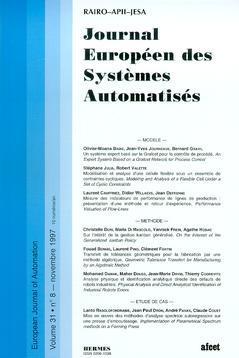 Couverture de l'ouvrage Journal Européen des Systèmes Automatisés Vol.31 N° 8/Novembre 1997