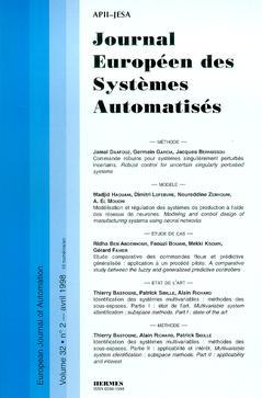 Couverture de l'ouvrage Journal Européen des Systèmes Automatisés Vol.32 N° 2/Avril 1998