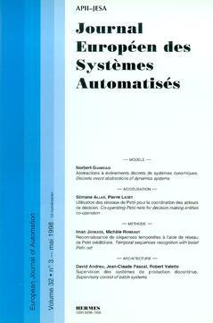 Couverture de l'ouvrage Journal Européen des Systèmes Automatisés Vol.32 N° 3/Mai 1998