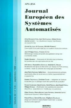 Couverture de l'ouvrage Journal Européen des Systèmes Automatisés Vol.32 N° 5-6/Septembre 1998