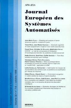 Couverture de l'ouvrage Journal Européen des Systèmes Automatisés Vol.32 N° 7-8/Octobre 1998