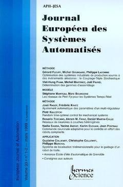 Couverture de l'ouvrage Journal Européen des Systèmes Automatisés Vol.33 N° 1-2/Mars 1999
