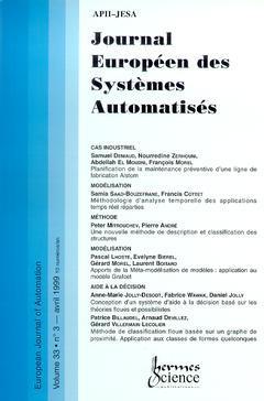 Couverture de l'ouvrage Journal Européen des Systèmes Automatisés Vol.33 N° 3/Avril 1999