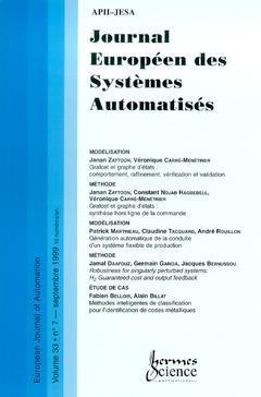 Couverture de l'ouvrage Journal Européen des Systèmes Automatisés Vol.33 N° 7/Septembre 1999