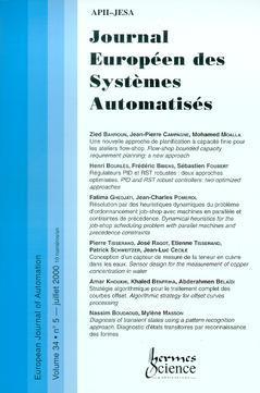 Couverture de l'ouvrage Journal Européen des Systèmes Automatisés Vol.34 N°5/Juillet 2000