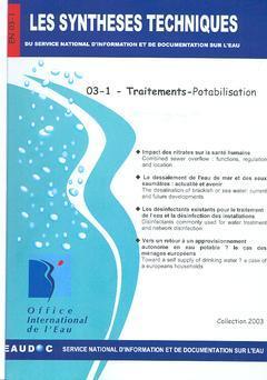 Couverture de l'ouvrage Traitements-Potabilisation (Les Synthèses techniques du Service National d'Information et de Documentation sur l'eau, EN 03-1)