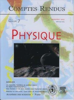 Couverture de l'ouvrage Comptes rendus Académie des sciences, Physique, tome 4, fasc 7, Septembre 2003 : les nouvelles frontières du système solaire : les objets transneptuniens...
