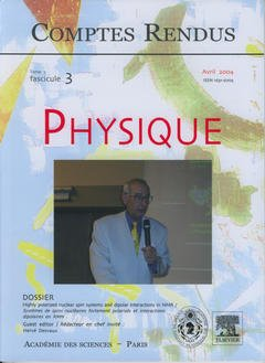 Couverture de l'ouvrage Comptes rendus Académie des sciences, Physique, tome 5, fasc 3, Avril 2004 : highly polazired nuclear spin system and dipolar interactions in NMR...