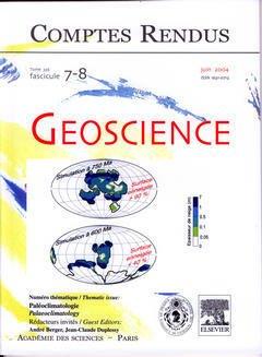 Couverture de l'ouvrage Comptes rendus Académie des sciences, Géoscience, tome 336, fasc 7-8, Juin 2004 : paléoclimatologie, Paleoclimatology