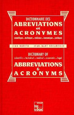 Couverture de l'ouvrage Dictionnaire des abréviations et acronymes