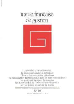 Couverture de l'ouvrage Revue française de gestion N°10 mai-juin /juillet-août 1977