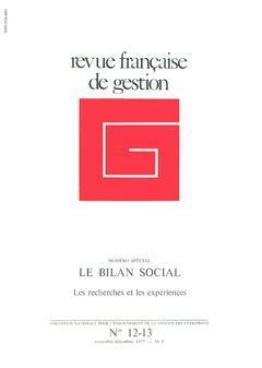 Couverture de l'ouvrage Revue française de gestion N° 12-13 novembre-décembre 1977