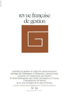 Couverture de l'ouvrage Revue française de gestion N° 14 janvier-février 1978