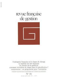 Couverture de l'ouvrage Revue française de gestion N°16 mai-juin /juillet-août 1978