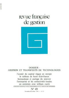 Couverture de l'ouvrage Revue française de gestion N° 49 novembre-décembre 1984