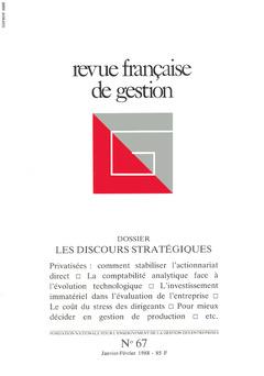 Couverture de l'ouvrage Revue française de gestion N° 67 janvier-février 1988