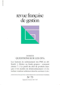 Couverture de l'ouvrage Revue française de gestion N°75 septembre-octobre 1989