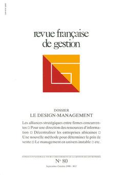 Couverture de l'ouvrage Revue française de gestion N°80 septembre-octobre 1990